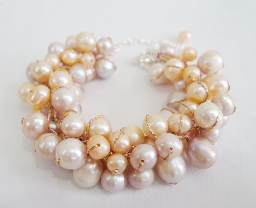 Light Peach,Cream Pearl Bracelets With Silk Thread