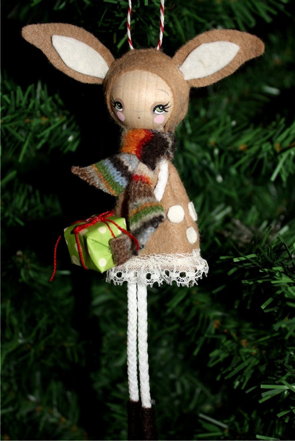 Chistmas Fawn---Wooden Handmade Tree Ornament