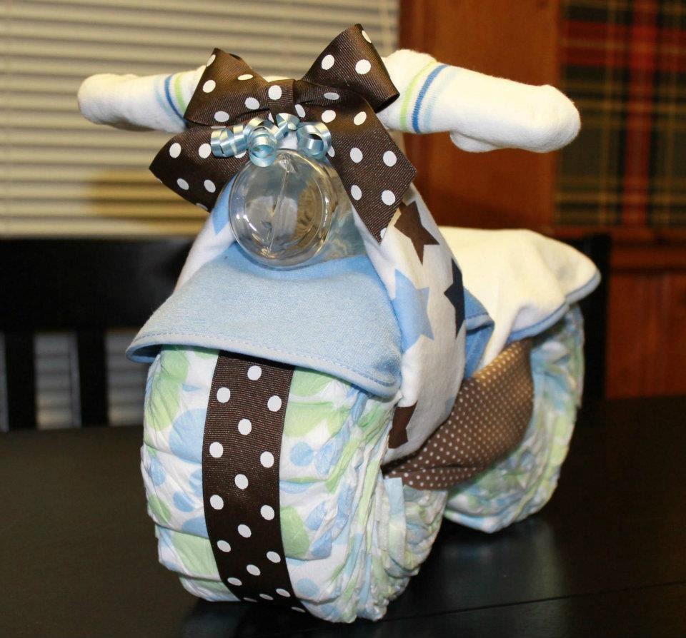 motorcycle diaper cake baby shower gift by delightfuldiaperduty