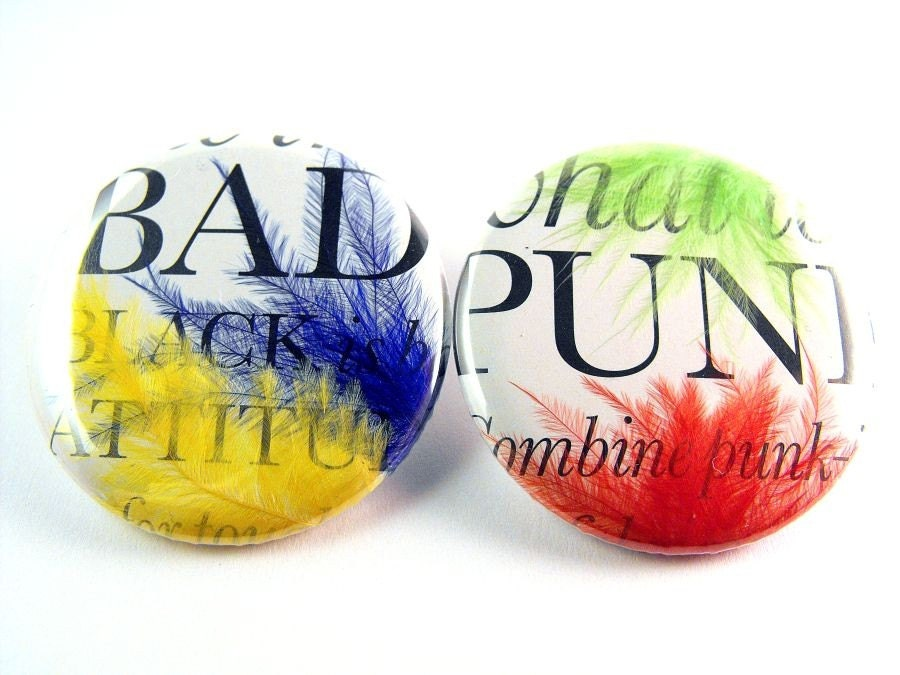 Stud Earrings, original design- BAD PUNK  (set of 2)