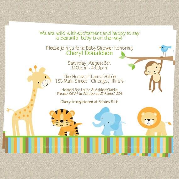 jungle baby shower invitations zoo or safari theme set of 10 printed