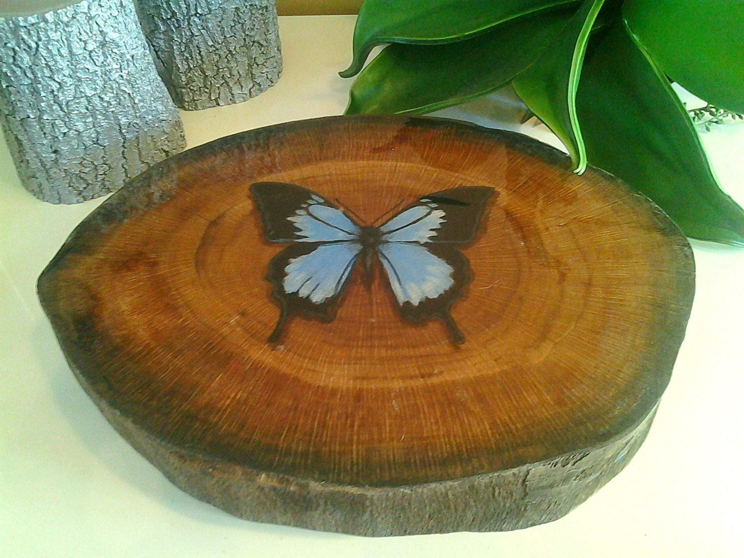 Original design custom oak tree trunk slice with by for Large tree trunk slices
