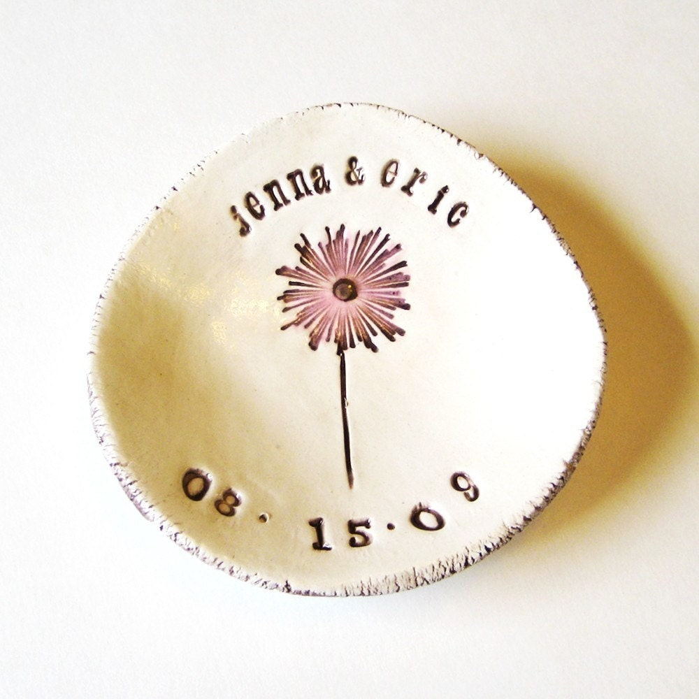 Dandelion Wedding Couple Dish Personalized - thebrickkiln