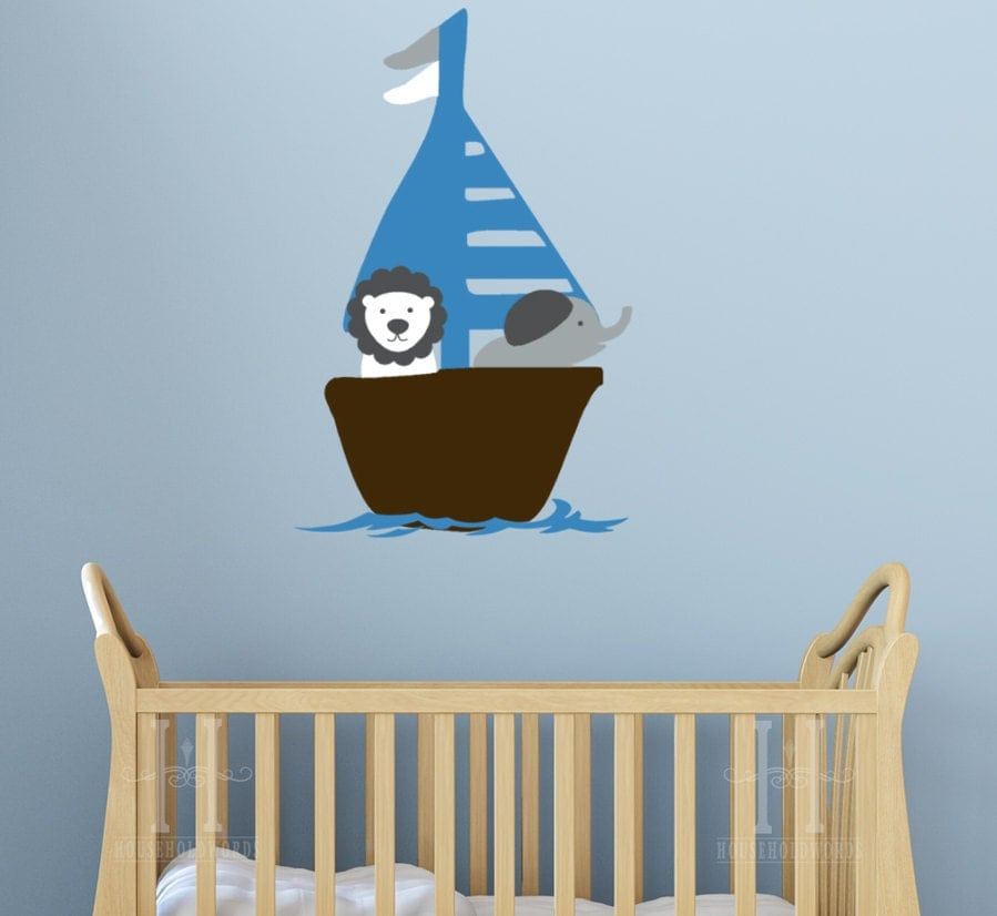 Sailboat Beach Decor Wall Decal Sticker Kids by HouseHoldWords