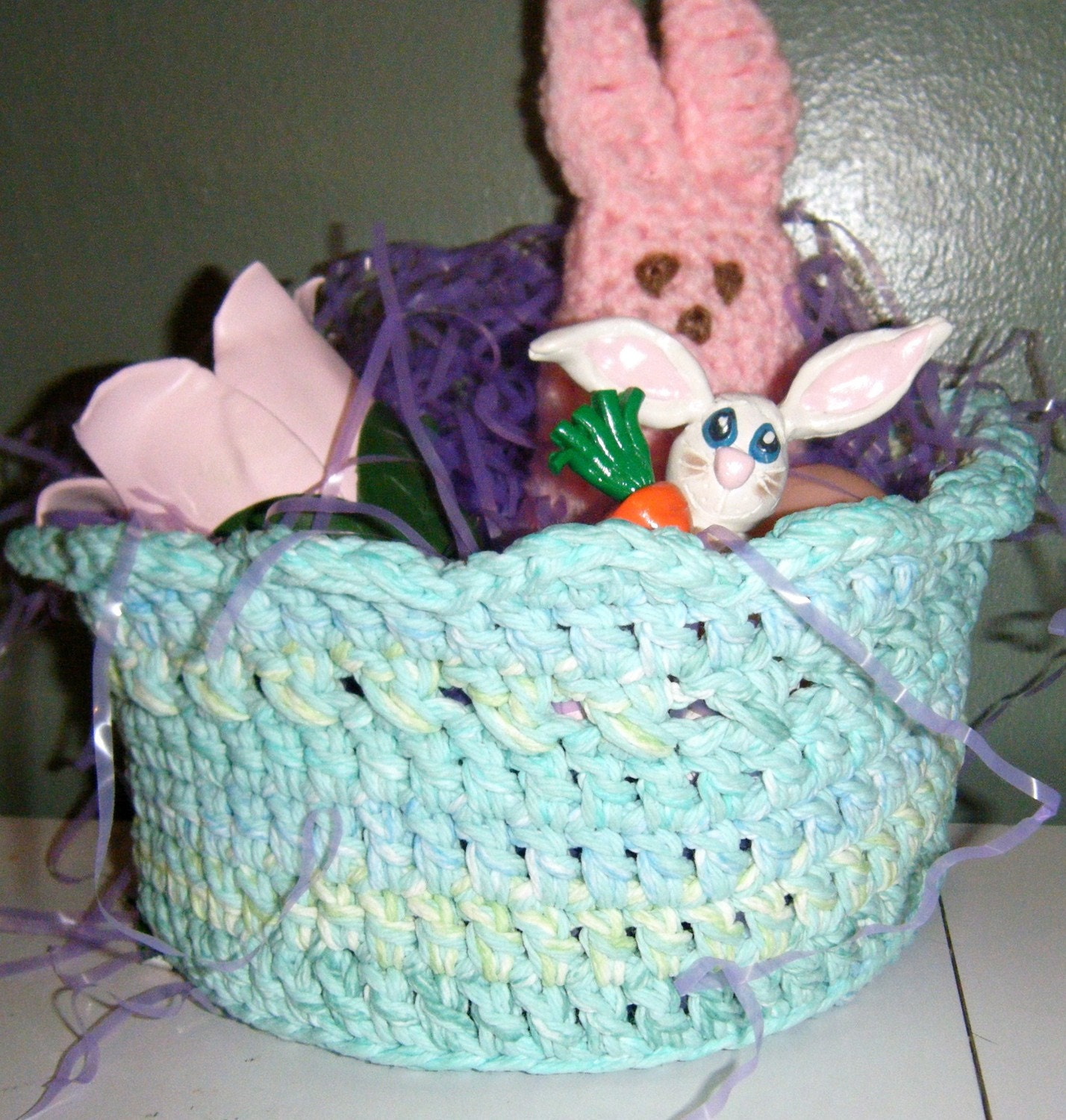 Handmade Crochet Easter Basket Candy Bowl FREE SHIPPING