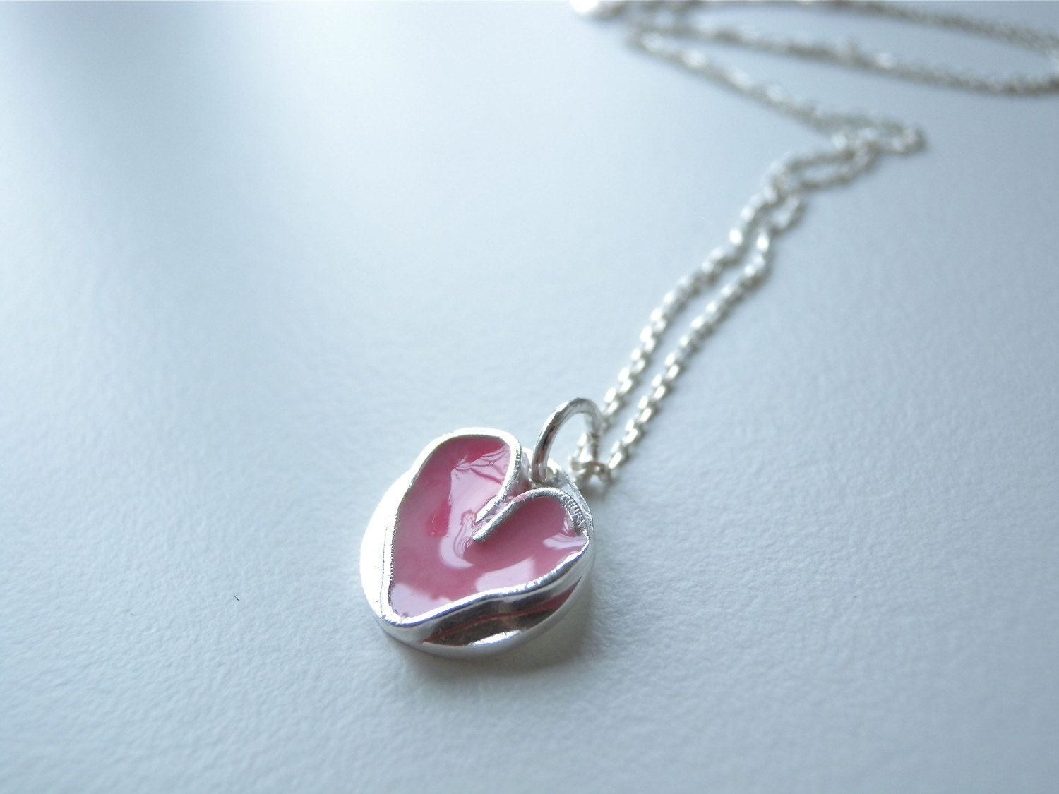 Pink Heart Necklace in Silver and Enamel