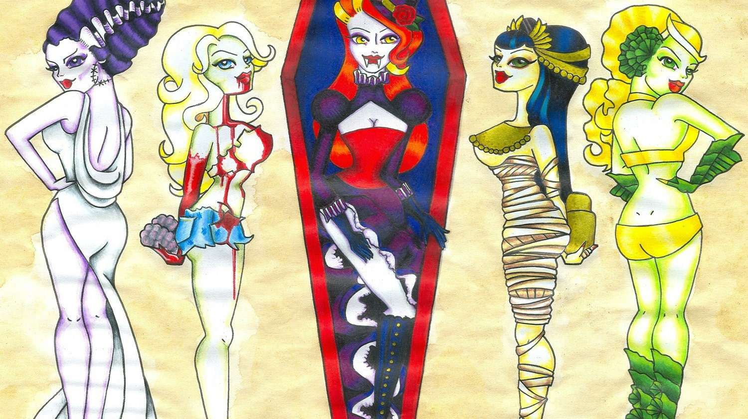 Monster pin up tattoo flash print by dangersjones on etsy for Pin up tattoo flash