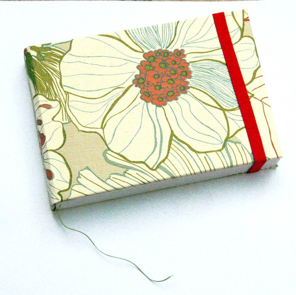 pocket notebook with grey flowers wallpaper