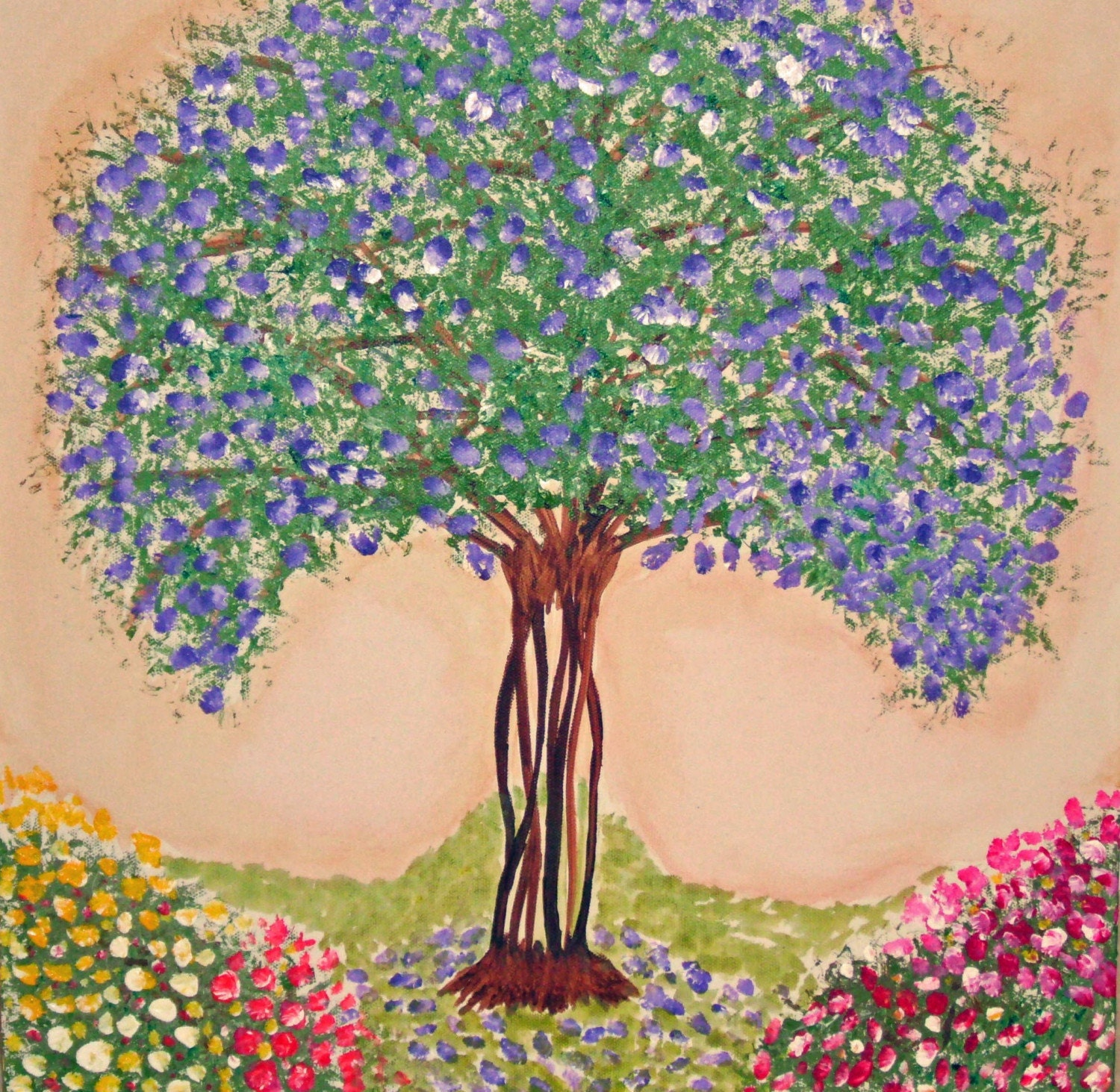Weekend Sale Original Painting on Canvas 18x18 Whimsical Crape Myrtle Blossom Tree