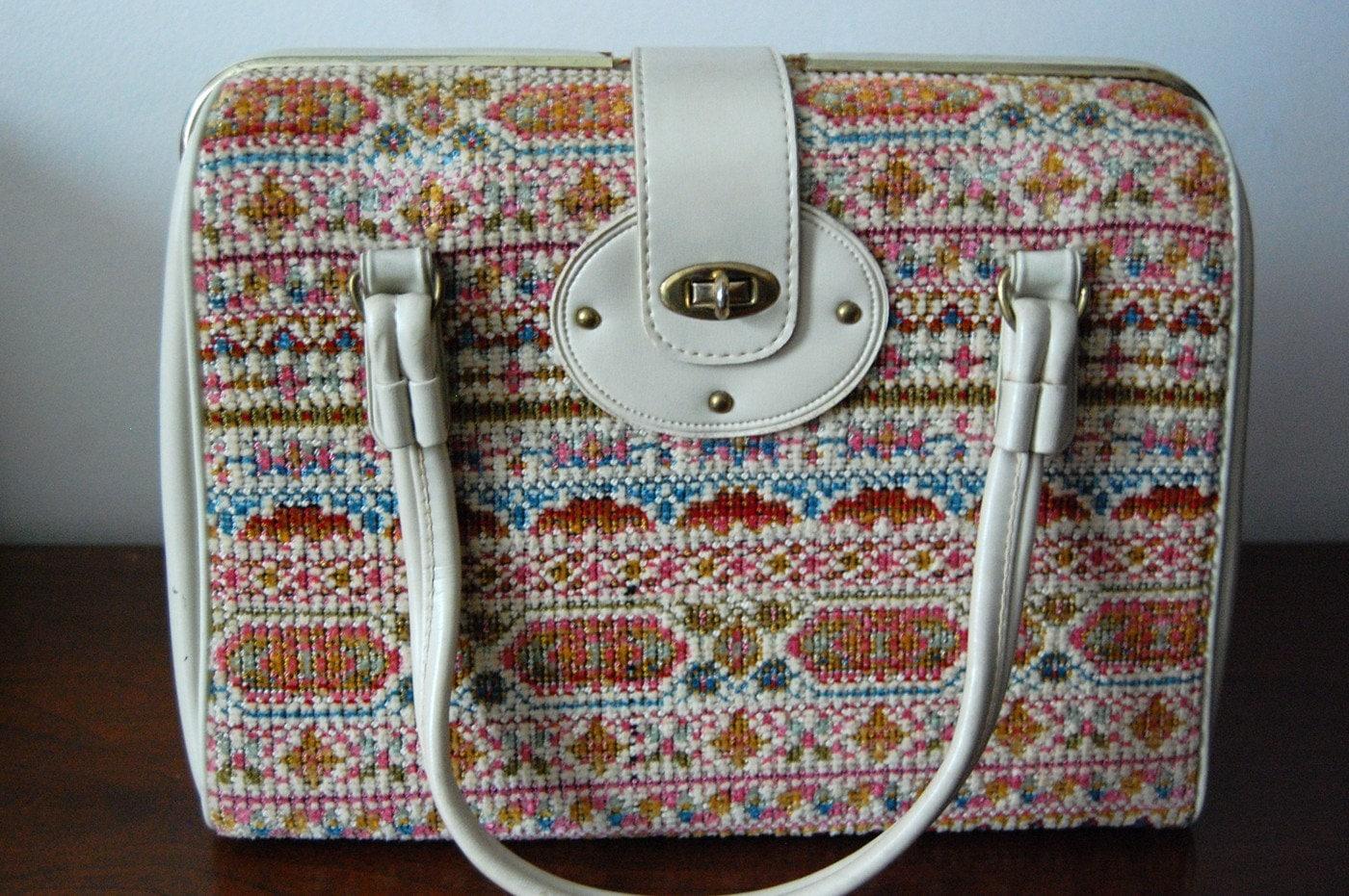 Vintage LAKE VIEW Carpet Bag SALE