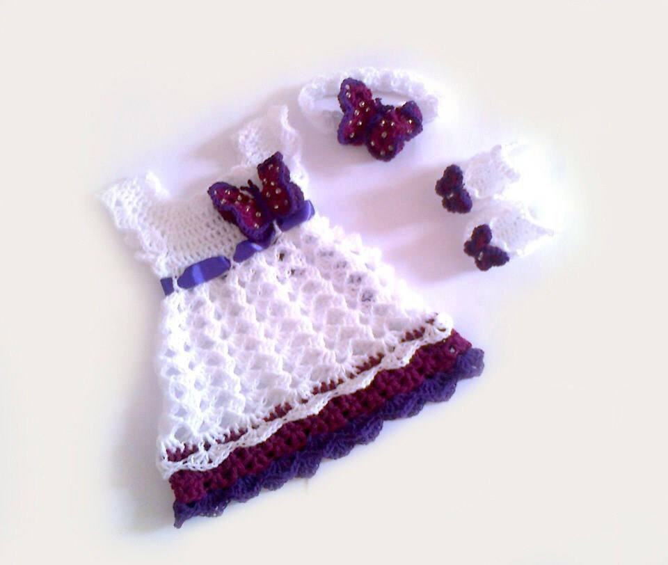 Baby Dress Headband and Booties in white purple by ...