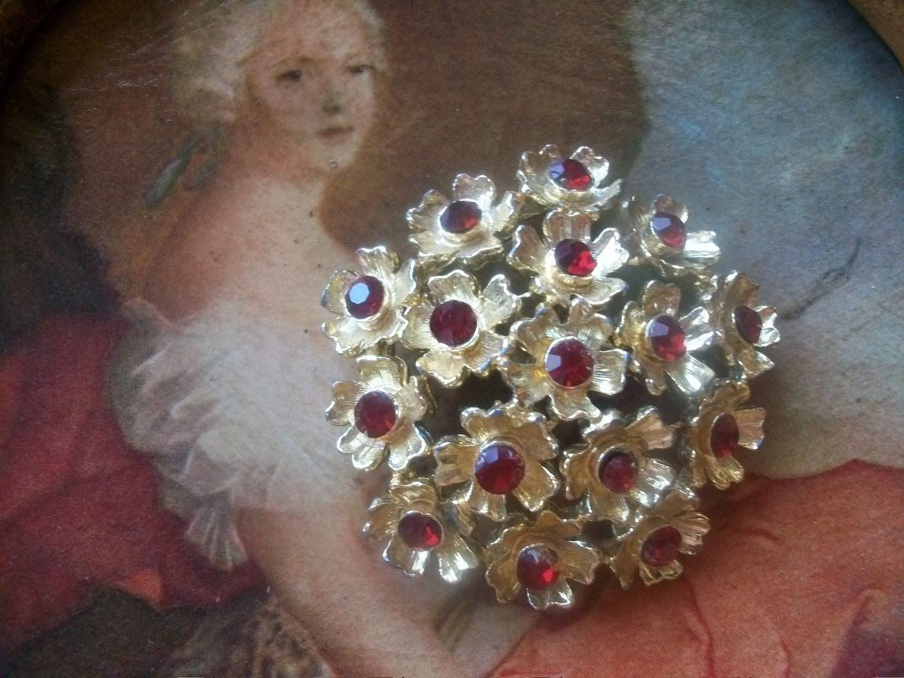 Red Rhinestone Flower Brooch Gorgeous