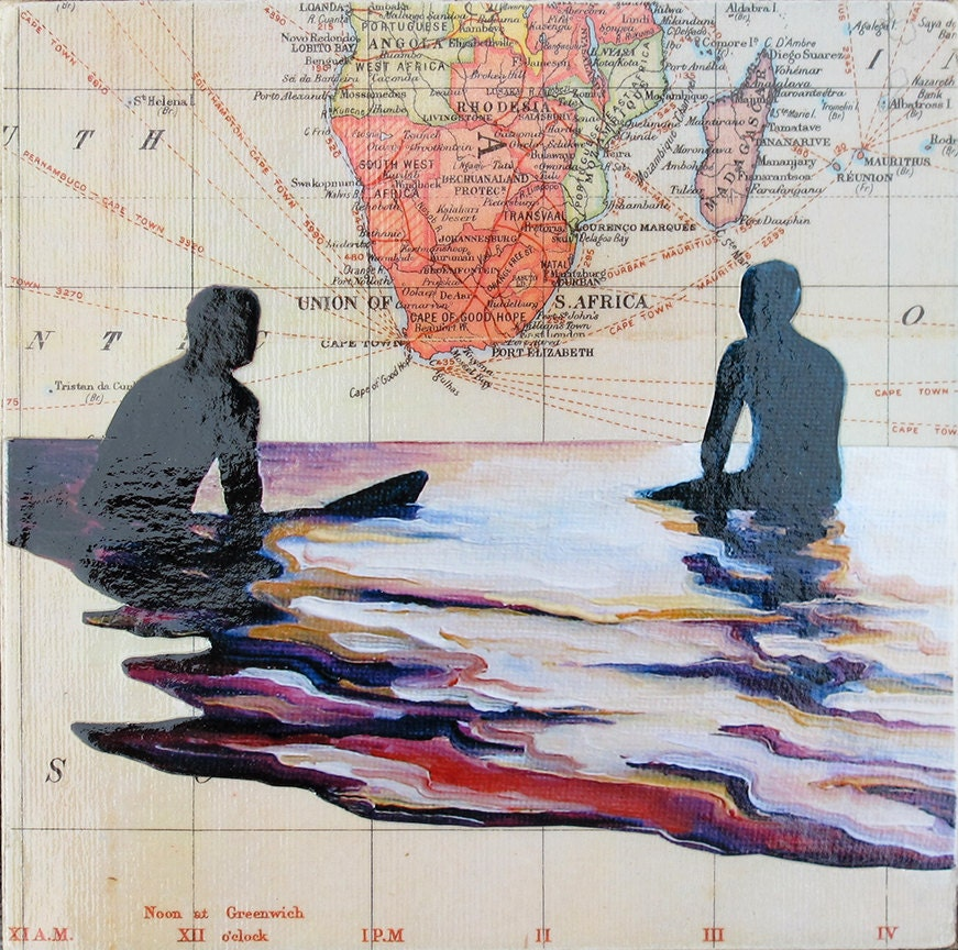 COLLAGE - Map & Giclee on Wood Block by Daina Scarola (South Africa, Eventide, Surf Art, Map Art) - OceanArtStudio