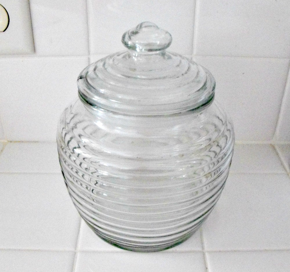 Vintage 1980s  Clear  Ribbed Glass Cookie Jar or Canister by Anchor Hocking USA - bobann23