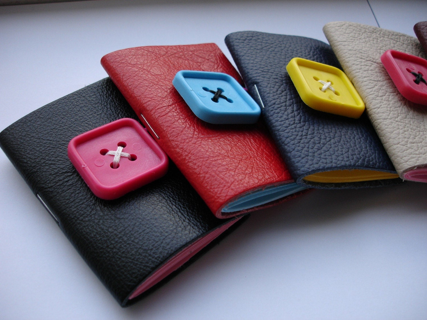 LOVE JOURNALS - Small Leather Notebook Journals with Square Buttons - 7 Colours Available - Gift Idea - MADE TO ORDER