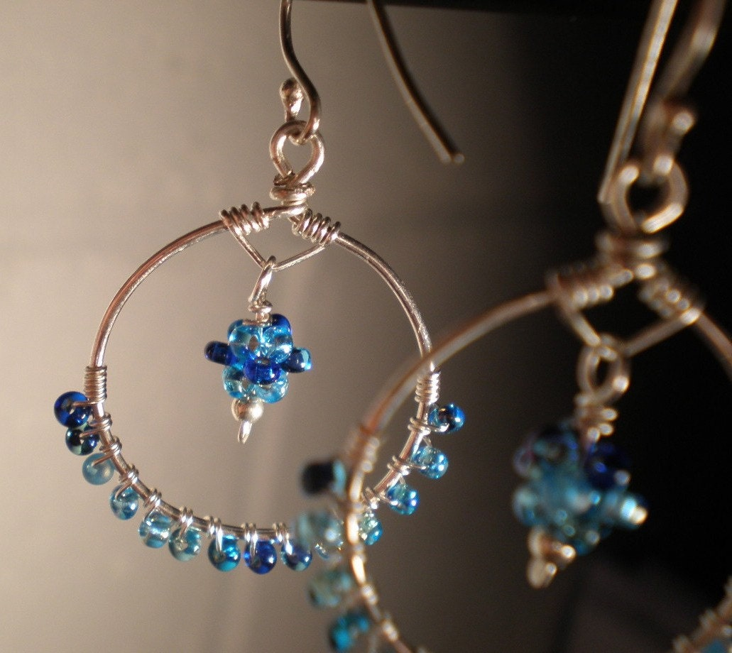 Summer Day Hoop Earrings - Wire Wrapped Glass and Sterling Silver