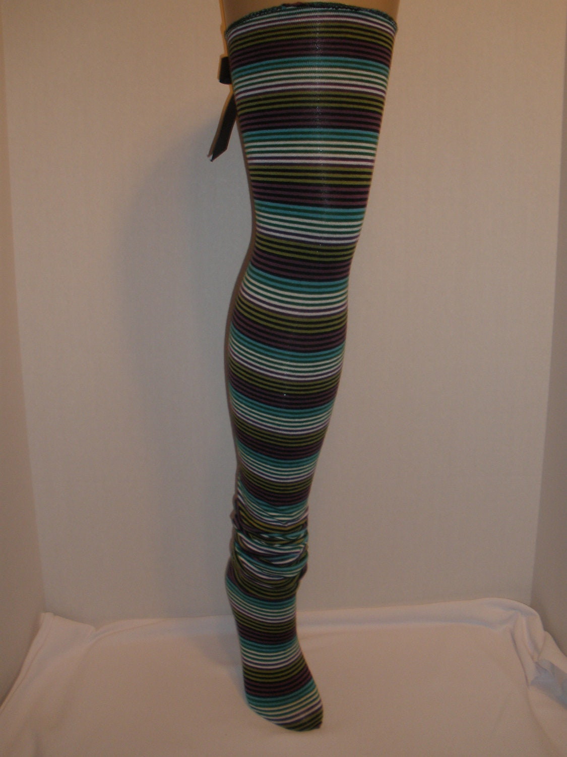 Womens, Girls, Long Cute Plaid Stocking Socks, Thigh Highs, Leg Warmers, with Cute Removeable Bow