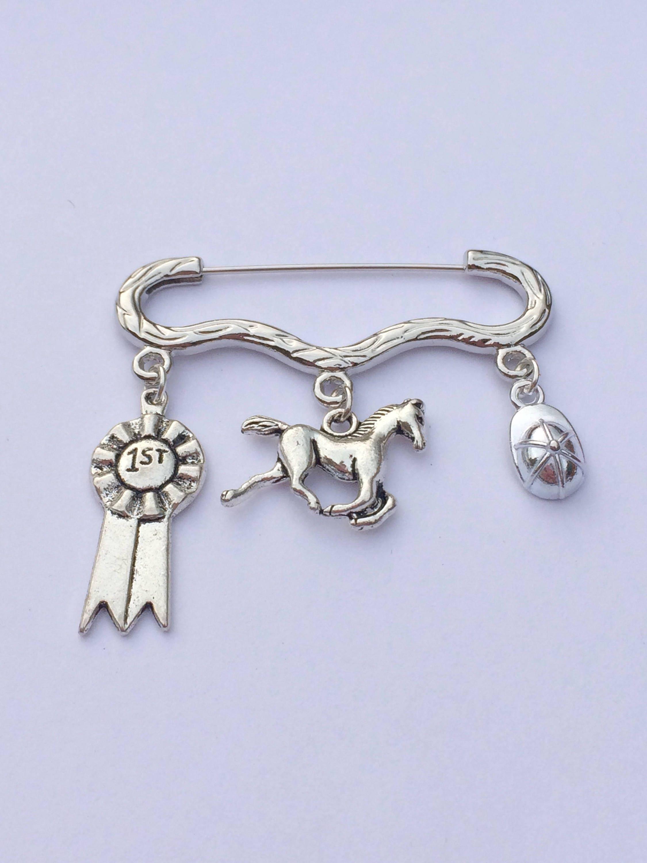 Equestrian themed stock pin horse charm brooch horse lover pin brooch