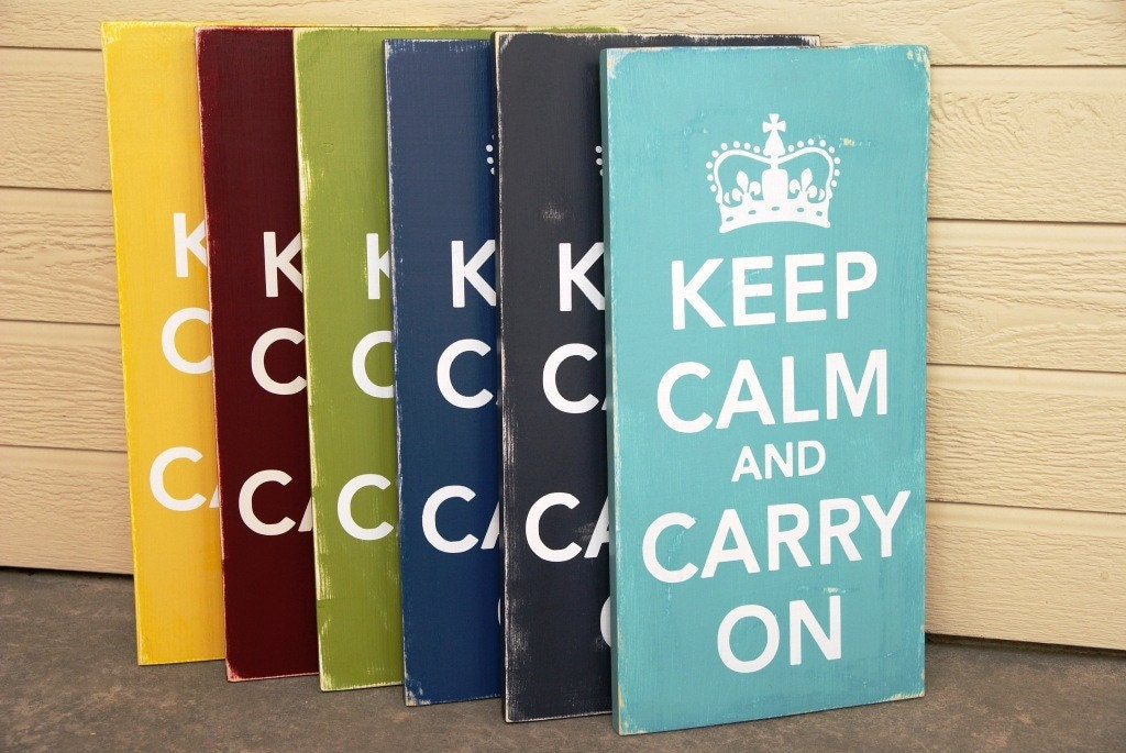 Keep Calm and Carry On Sign-Solid Wood- Distressed-Pick Your Own Colors - Large