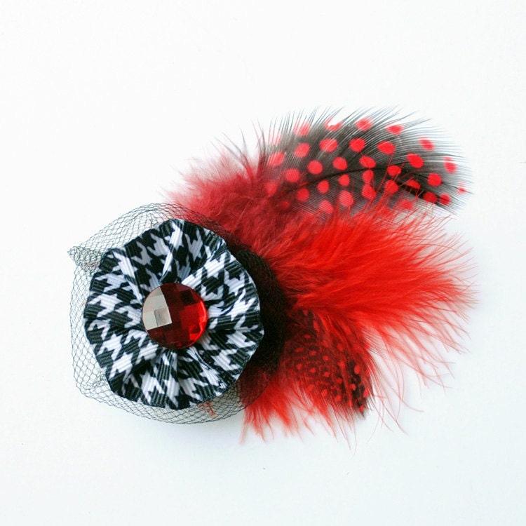 Зажим для волос - ленты и перья
