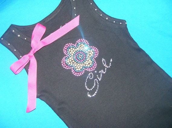 2 hot pink black Crystal Rhinestone BLING jeweled Flowergirl Tank Top Shirt
