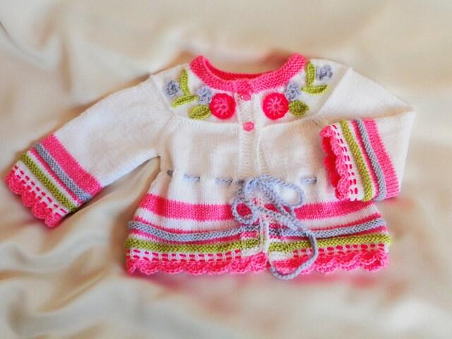 دست -- بافتنی ژاکت کش باف پشمی کودک را با گلدوزی های زیبا