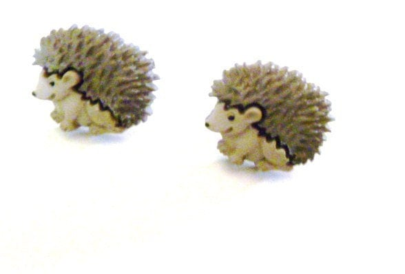 Earrings-Mix and Match Collection- Matching Set Little Forest Baby Hedgehogs - mulberrymoosetoo