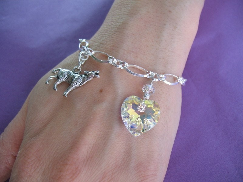 QUALITY Bella Bracelet (Twilight) - Sterling Silver - Rare Crystal Heart - 7 inches