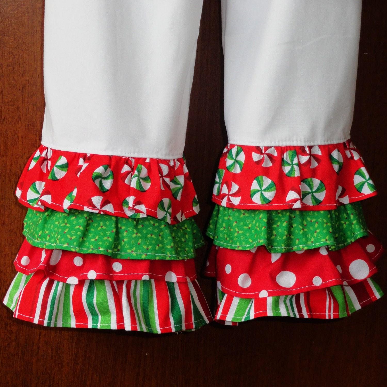 Girls Ruffle Pants Christmas Rumba Ruffles - Amievoltaire