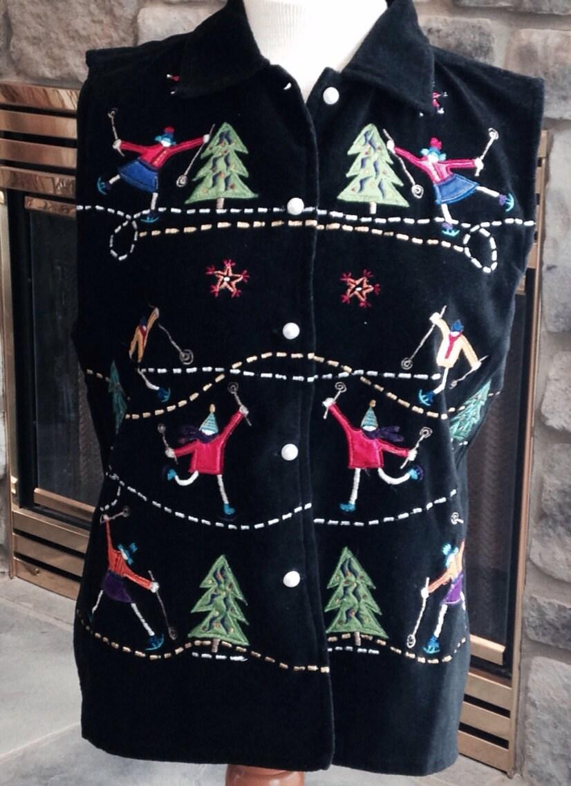 Winter vest. Ugly Christmas Sweater. Ski Sweater Vest. Vintage Xmas. - Purl1VintageToo