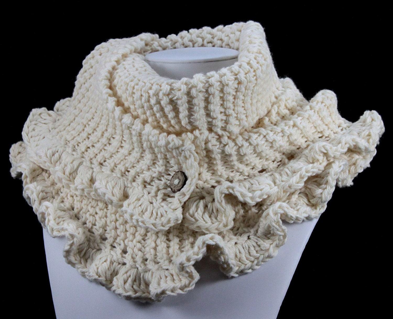 EcoCessory Organic Cotton Ruffled Scarf - Ecru