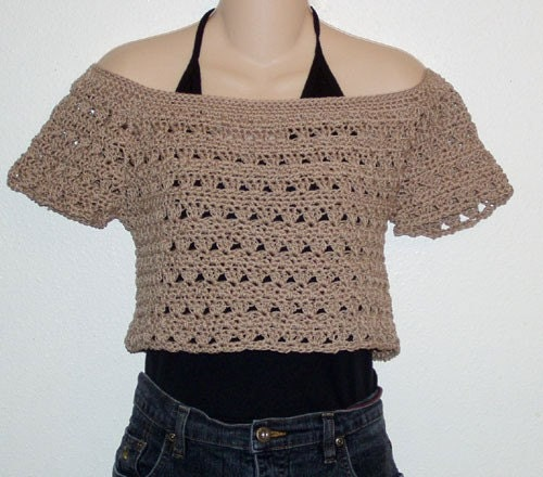 Free Crochet Pattern Cropped Sweater : Crochet Pattern for Tan Cropped Pullover Sweater by ...