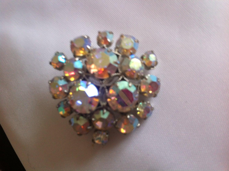 Beautiful crystal diamante aurora borealis paste brooch pin antique vintage retro 1950s