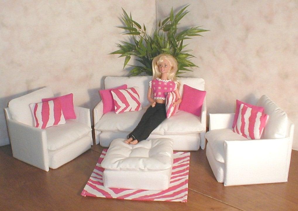 Barbie Doll Furniture Living Room Set White W Pink Zebra Hot Pink Pillows Rug Bratz Monster High