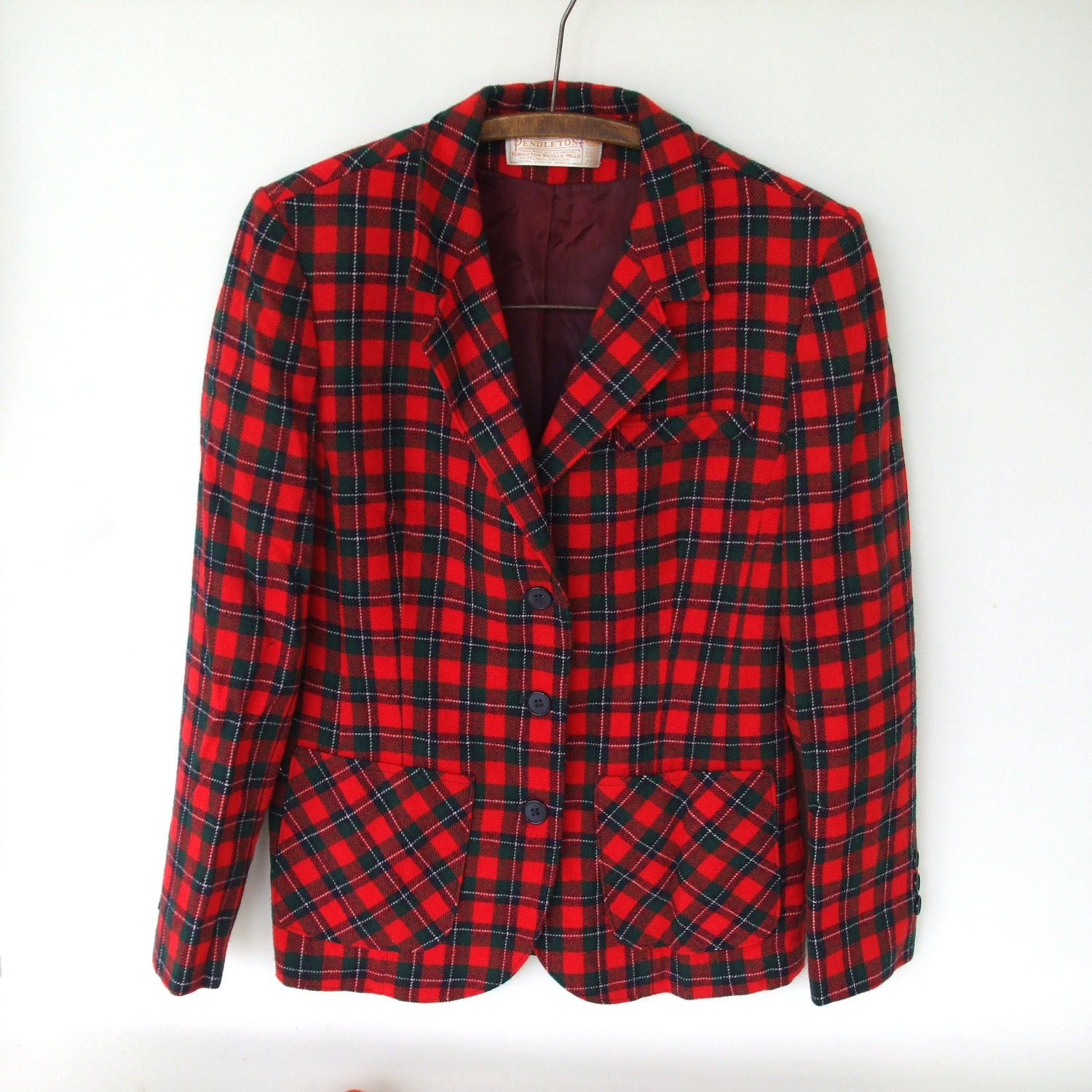 Nerdy Christmas Jacket - Pendleton Women's Tartan Plaid Blazer 4-6 ish Small