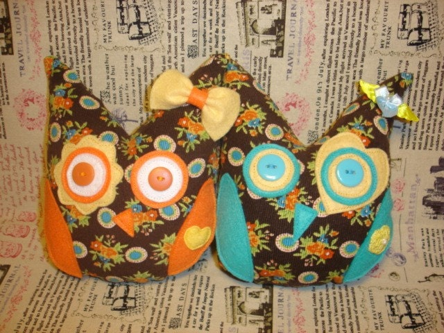 Decorative Owl Plushie - Yellow and Teal Owl Help Japan Donation Drive