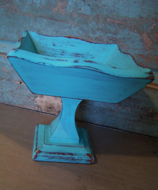 Turquoise Pedestal Display Bowl