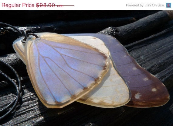 ON SALE real Butterfly Wing Necklace by Beijo Flor by BeijoFlor from etsy.com