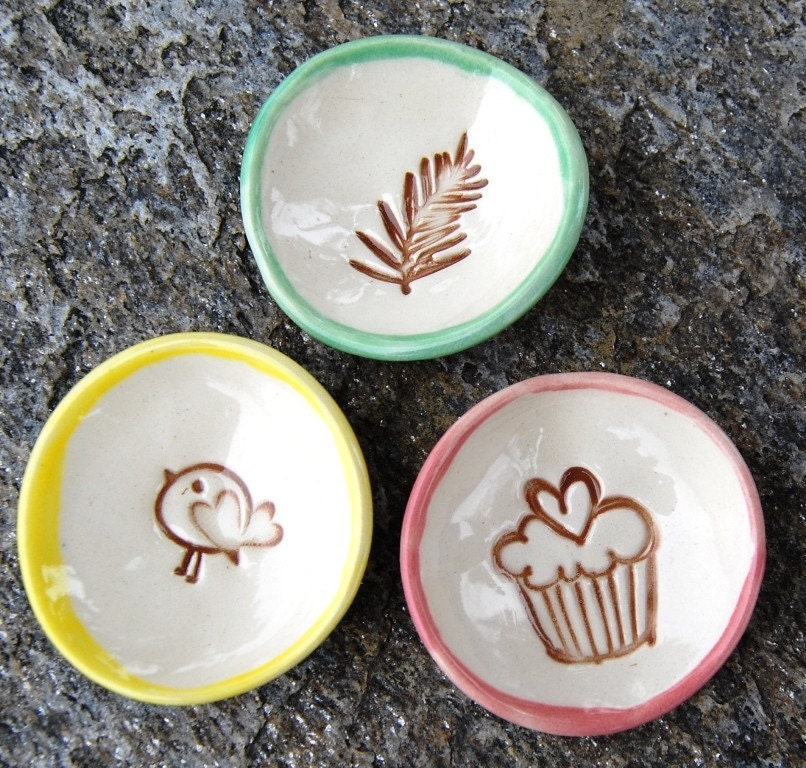 Lil  Mini Dishes - set of three, bird, fern and cupcake