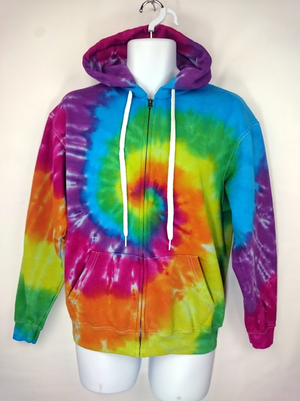 Rainbow Hoodie Tie dye Hoodie Womens Hoodie Tie dye Jumper Zipped hoodie Mens Gift Womens Gift Medium Hoodie Teenager Gift
