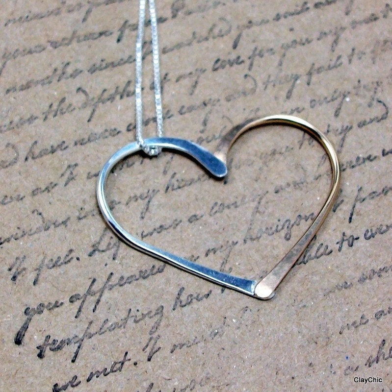 Sterling and Gold Heart Necklace