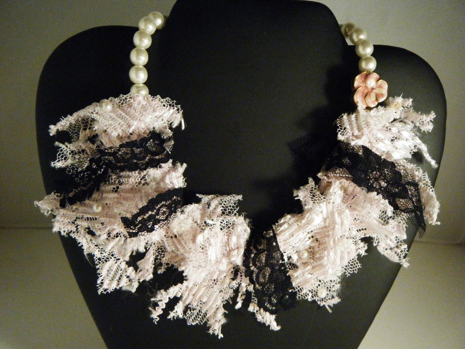 Repurposed Vintage Pearl and Lace Bib Necklace .... Tattered Showstopper