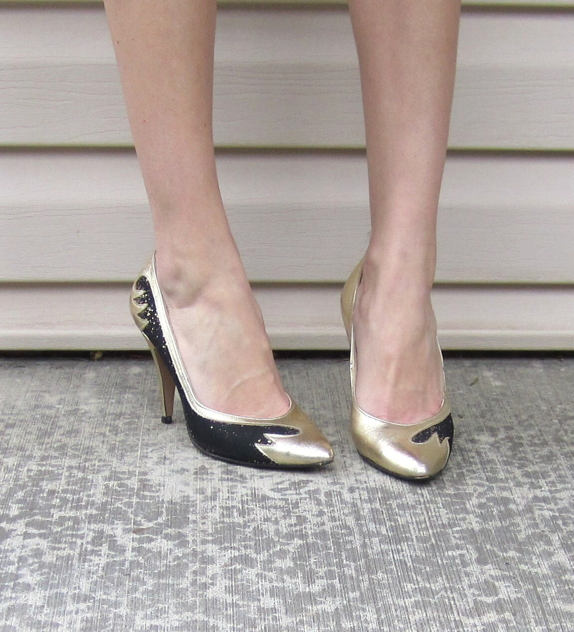 Vintage 1980's Gold Disco Heels by Imperial
