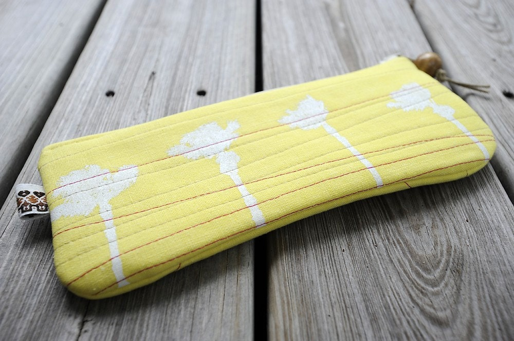 eco friendly palm tree clutch in sunshine yellow