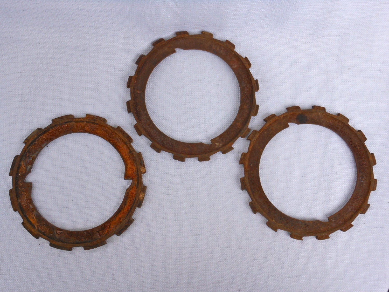 Metal Gears Wall Decor : Vintage set of three rusty metal gears wall decor by