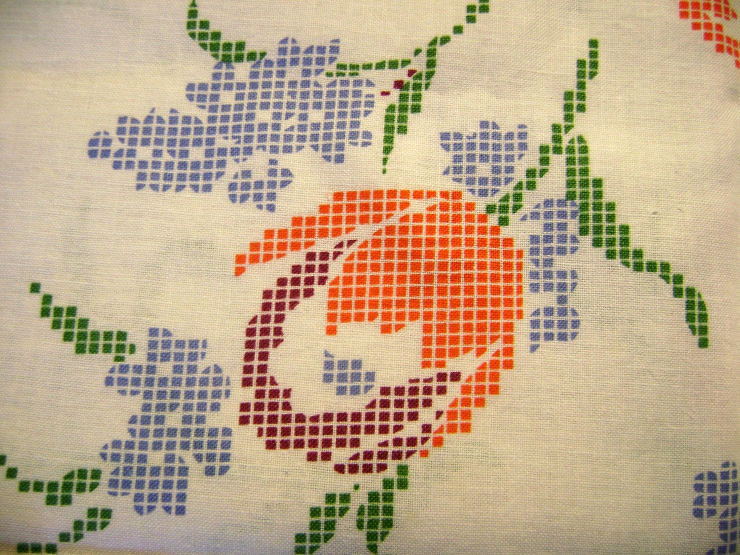 Vintage Feed Sack with Orange, Blue and Green Cross Stitch Design