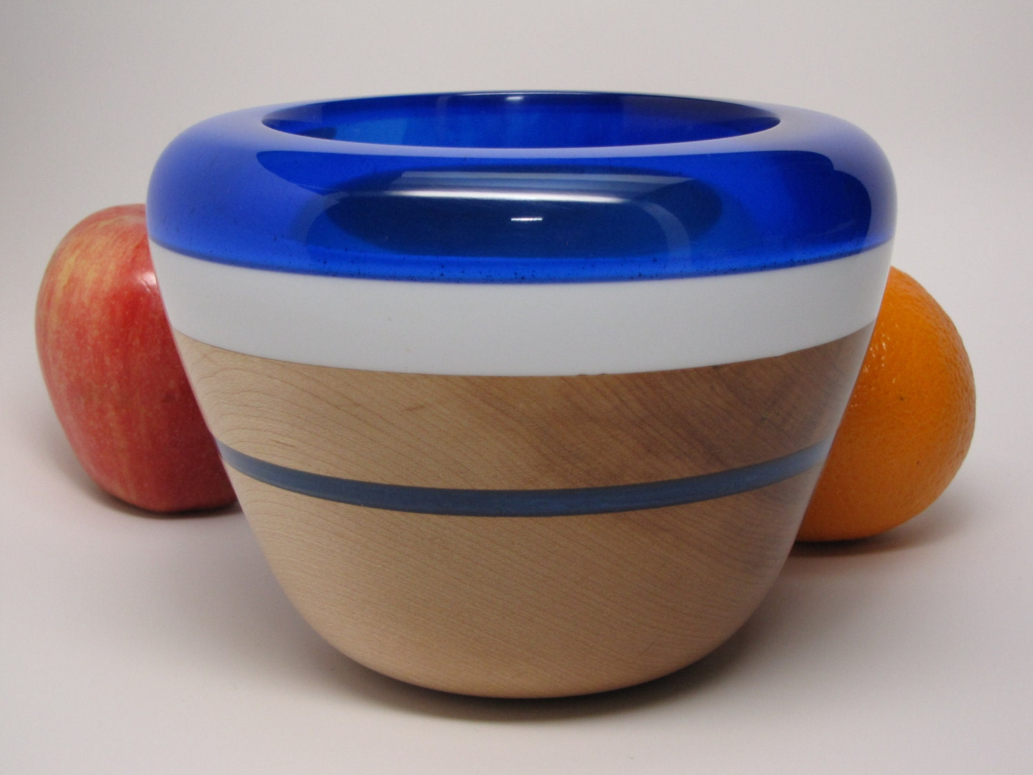 Hand Crafted Hard Maple Bowl with a Clear Dark Blue and Lite Blue Resin Lip