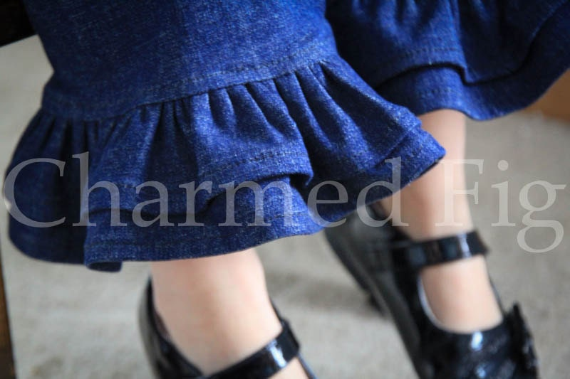 Double Ruffle Denim Pants - Custom Made