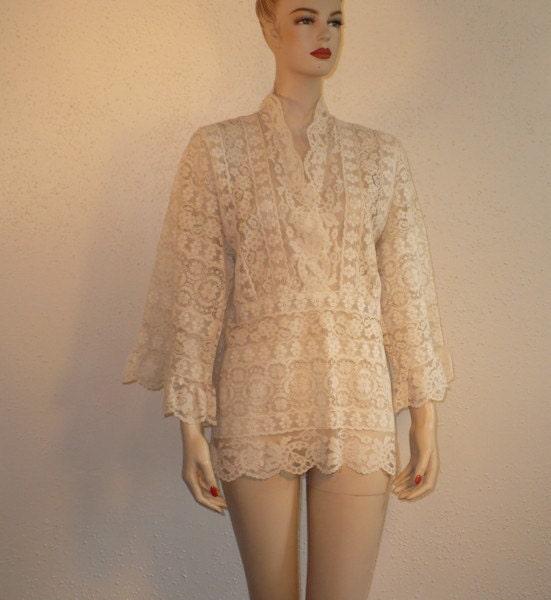S/M Lace Blouse Mini Dress 60's Vintage Cotton Shirt Top White Angel Sleeves