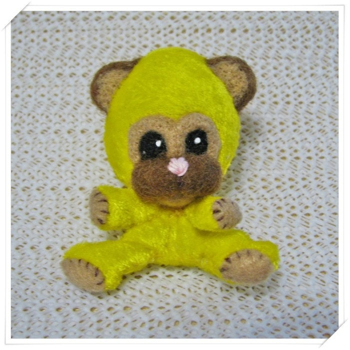 Sale Until June 4th Chibi Chibitude Hand                                                           made Felted                                                           and Stuffed                                                           Mini Bear Kuma                                                           Critter Cutie